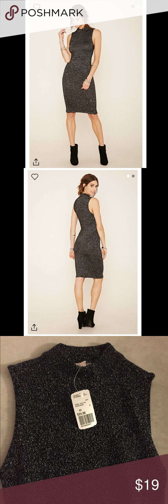 Metallic Bodycon Dress Sleeveless Dress Crafted From Metallic Knit In A Bodycon Silhouette With A Mock Neck. New with tags. Forever 21 Dresses Midi
