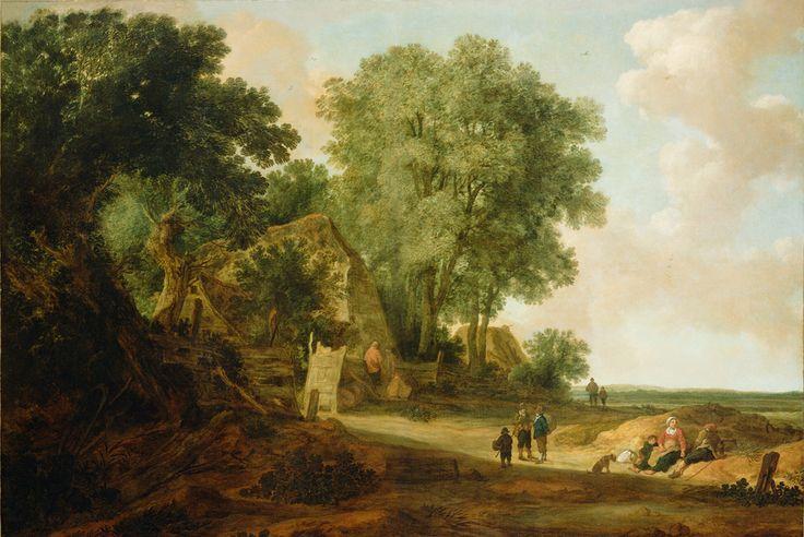 Jan van Goyen - Landschap met huizen en mensen