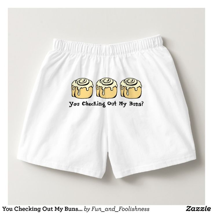 You Checking Out My Buns? Men's Funny Boxers Underwear.  Text can be customized. Cute cartoon cinnamon roll sweet honey buns design with funny quote on the butt makes a great gag gift for someone who likes baking, food, or dessert humor or who just loves the sweet buns - baker, pastry chef, foodie, workout / exercise enthusiast, or the guy proud of his booty.  Cute funny boxer shorts for a no pants party or gag gift. #funnyunderwear #nopants #sweetbuns #cinnamonrollgifts