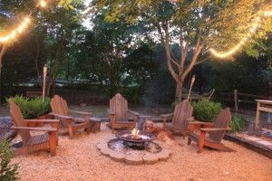pea gravel, railroad ties, firepit backyard patio