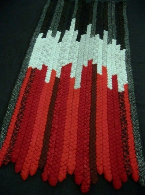 OOAK Red, Black, Gray Rectangle Braided Wool Rug from recycled wool. $399.00, via Etsy.