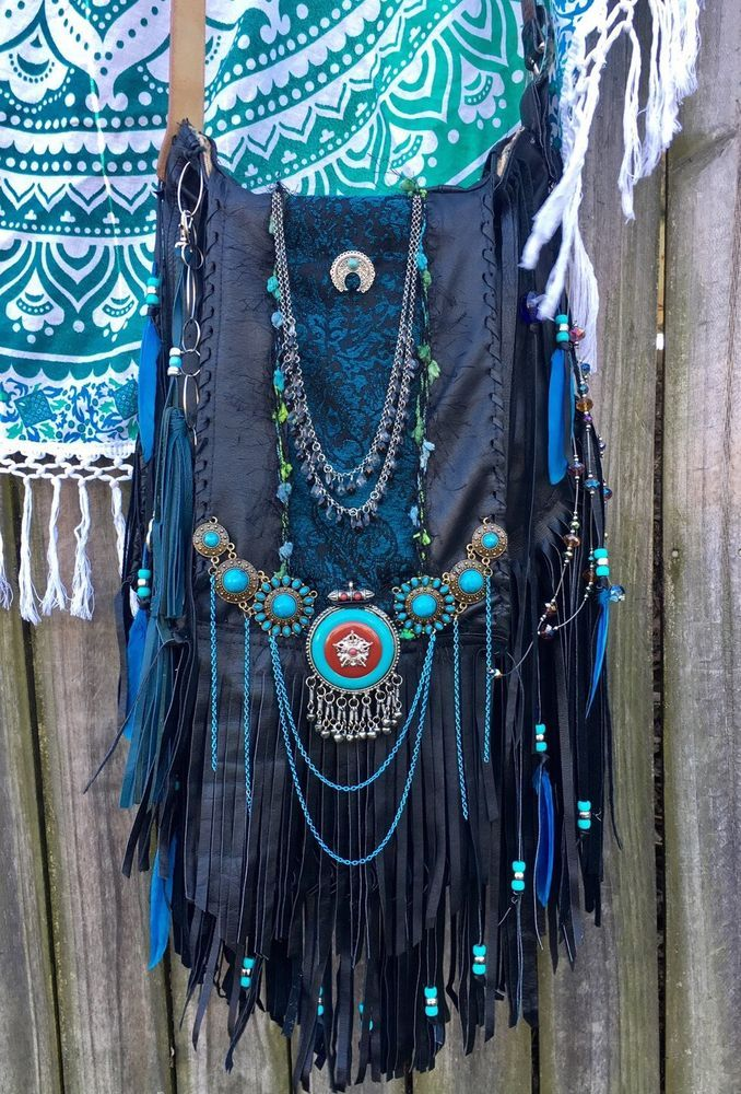 Handmade Black Leather Fringe Bag Turquoise Boho Hippie Gypsy OOAK L Purse B.Joy  | eBay