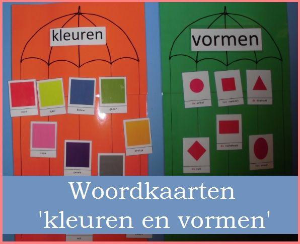 * Woordkaarten: kleuren en vormen!