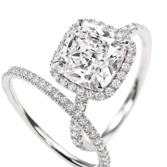 Harry Winston cushion cut; 3 carat diamond engagement ring.