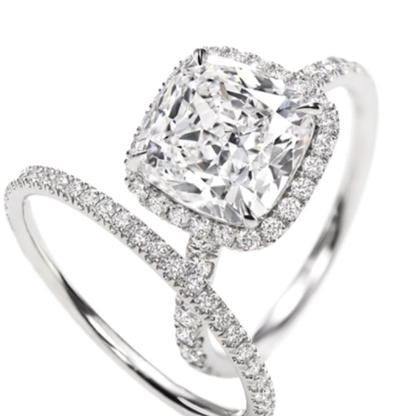Harry Winston cushion cut; 3 carat diamond engagement ring.