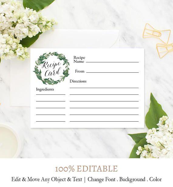 Rustic Wreath Recipe Cards Printable Recipe Template Rustic Etsy Bridal Shower Menu Rustic Recipe Cards Diy Bridal Shower Gifts