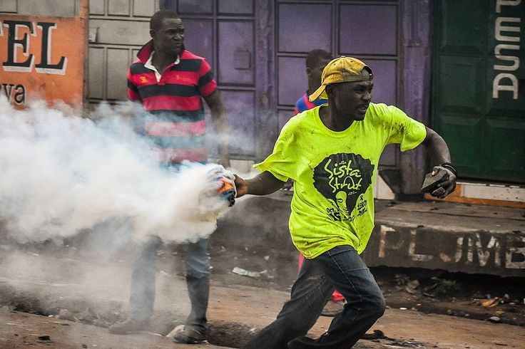 on the 18th of August 2017. A supporter of the National Super Alliance (NASA) fires a teargas canister back at the anti riot police as the country awaits for the rulings by Supreme Court on petitions seeking to nullify the result of the presidential election #reportagespotlight #repost #leadersofafrica #everydayafrica #everydayeverywhere #demonstrationteam #ig_africa #ig_africa #