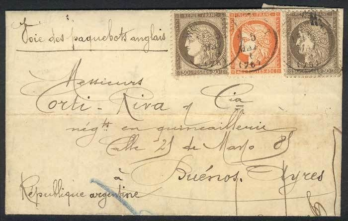 France, 5/MAY/1876 DARNIES - ARGENTINA: complete folded letter franked by Yv.38 + 56 x2, with Buenos Aires arrival backstamp, VF quality! Starting Price (11/2016): 157 EUR.