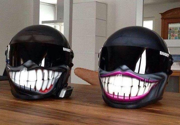 Couples smiley helmets