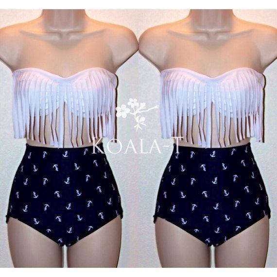 White Fringe Bandeau Top & Anchor Print High Waist Bikini! LIMITED EDITION!