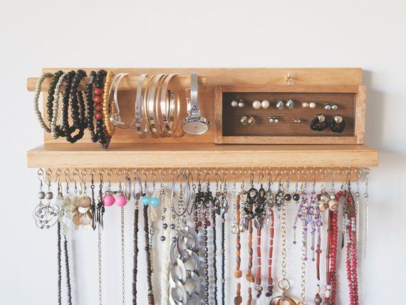 Jewelry Organizer Earring Holder Jewellery Organiser Jewelry And Accessories Organiser Ring Holder Mothers Day Gift Bracelet Holder Jewelry Storage Diy Jewellery Storage Jewelry Organizer Wall