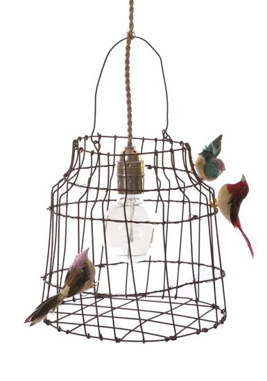 Lamp of bird cagen van Dutch Dlight    Size cage: Ø9xØ6xh10inch  Material lampshade: iron wire  Cord length: 118inch, incl. dimmer  Incl: expensive carbon filament bulb Ø7cm  Delivery time: 2-3 days