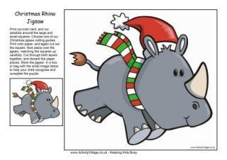 Christmas Jigsaw Rhino