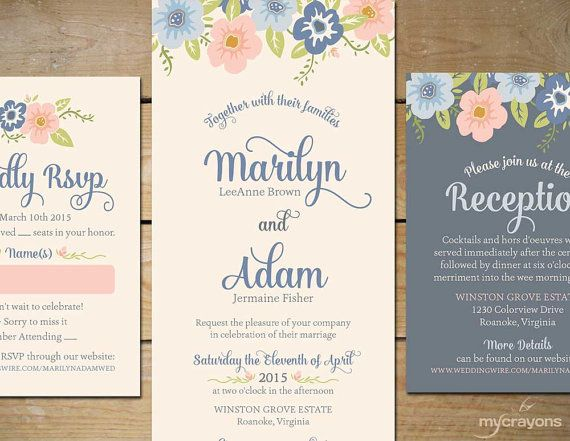 Whimsy Floral Wedding Invitation by MyCrayonsPapeterie, $35.00 // DIY Printable Wedding Invitation Set // Powder Blue and Pink, Pale Blue, Floral Invitation