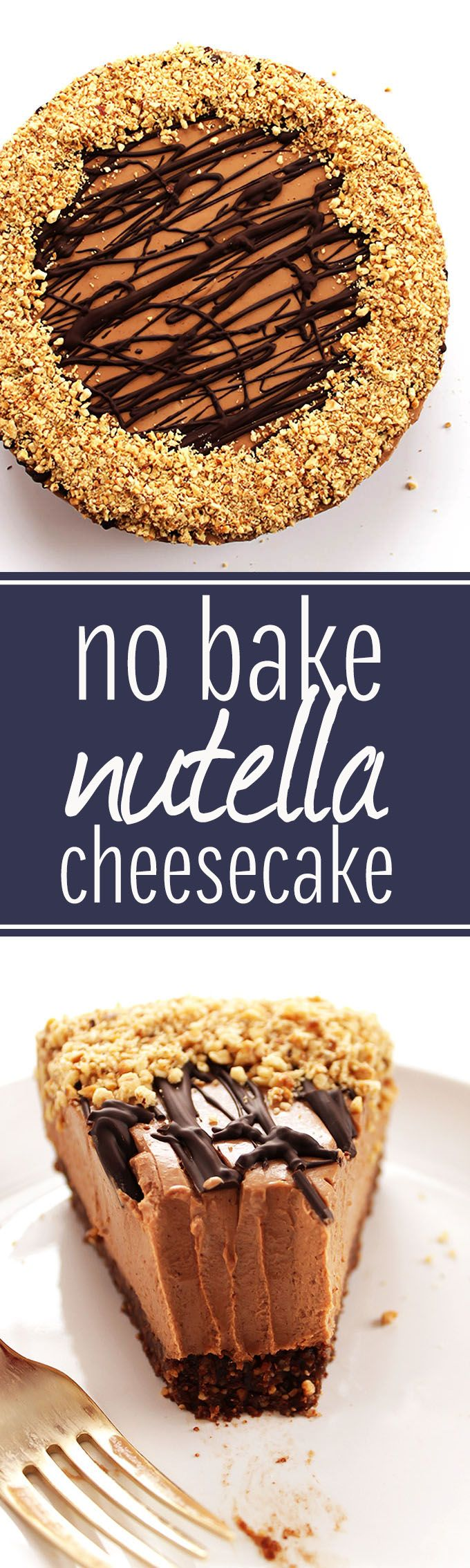 No Bake Nutella Cheesecake - Rich chocolate + hazelnuts with a gluten free crust. We LOVE this recipe for a special occasion! Perfect for Valentine's day! (Gluten Free)  | robustrecipes.com