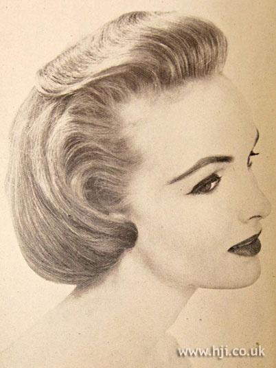 1956 blonde quiff hairstyle        Hairstyle by: Elizabeth Arden  Location: Paris