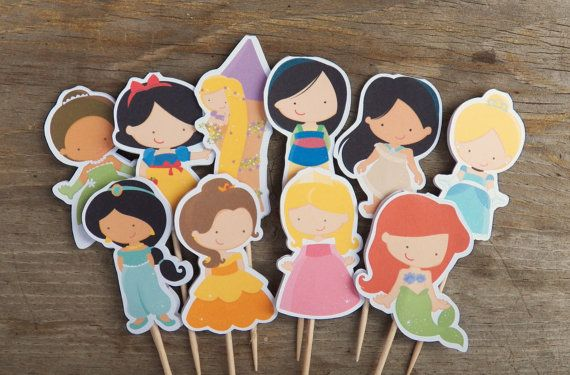 Princess Party - Set of 24 Assorted Princess Cupcake Toppers by The Birthday House on Etsy, $12.00