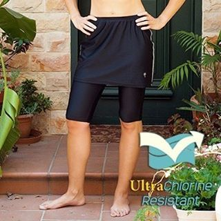 Shop our customer favorite, Amphi Spirit Athletic Skirted Capris, now available in Black/Reflector! This sporty yet chic swim skirt will take you from swim to gym! #hydrochicswimwear #swimwear #activewear #swim #sport #chic #sporty #gym #workout #fitness