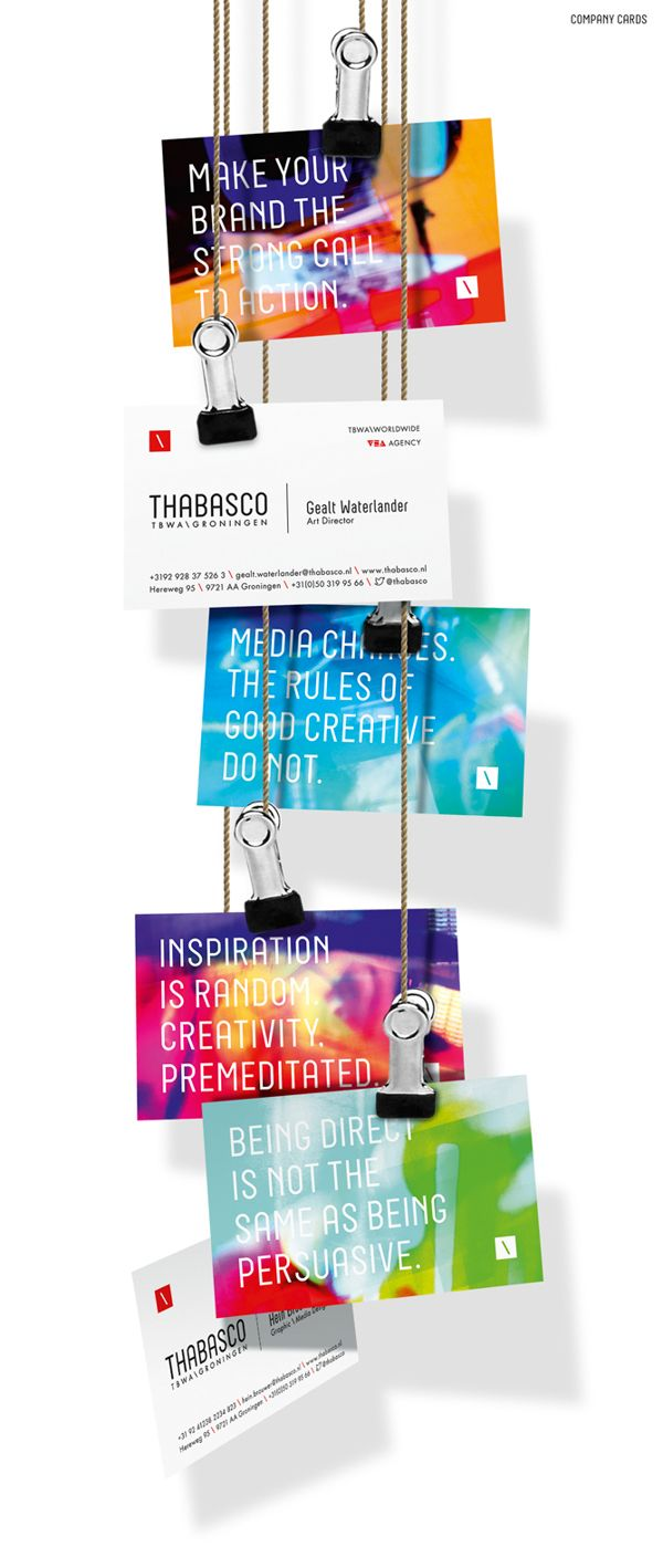 This project features the branding for my agency: TBWA\Groningen. The branding ignores conventions by combining different styles in design, customized vector graphics and colorful abstract photography to one disruptive and unique identity.