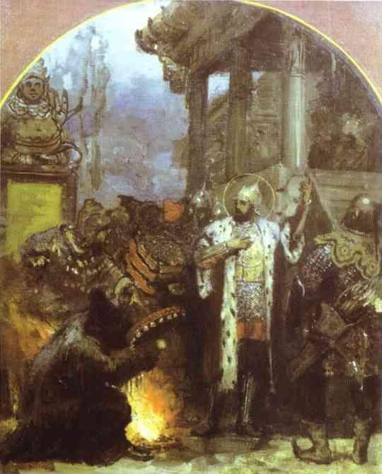 Prince Alexander Nevsky in Gold Horde  - Henryk Hector Siemiradzki, 1876