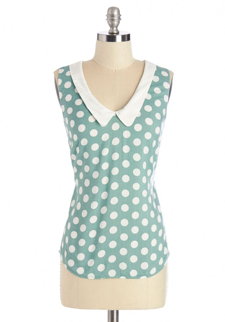 Summer Book Club Top in Green. Sweet and sophisticated, this sleeveless polka-dot top in sea-glass green - availabe for purchase in July - reflects your personality and sets the tone for your first book club meeting with the gals! #green #modcloth