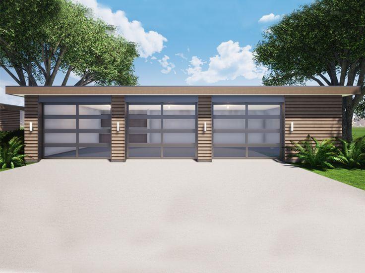 052g 0029 Modern 3 Car Garage Plan In 2020 Front Yard Landscaping Design 3 Car Garage Plans Front Yard Design