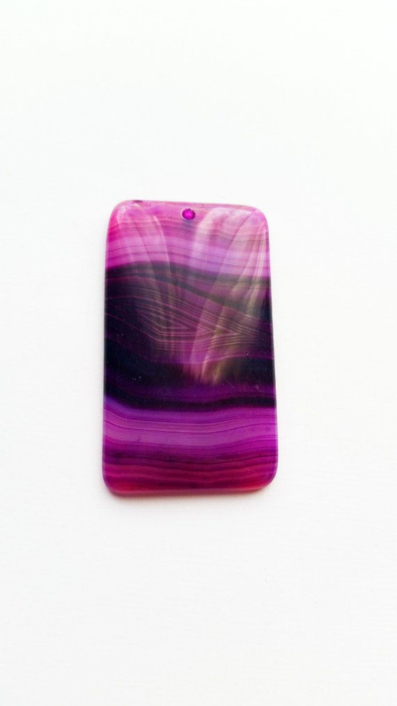 Grote paarse Agaat hanger, paarse strepen Agaat edelsteen, langwerpige hanger, Top geboord   Aantal: 1 Pc  Afmeting: 56 X 32 mm :…
