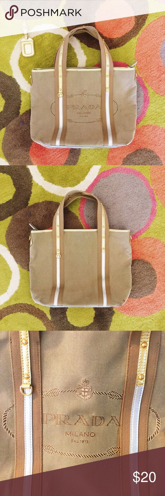 PRADA canvas tote bag Price reflects. Please do not ask! ✨ Very well made. Canvas material is very thick and sturdy. Much thicker than any Goyard or Longchamp.   Features: multiple pockets + address tag Prada Bags Totes
