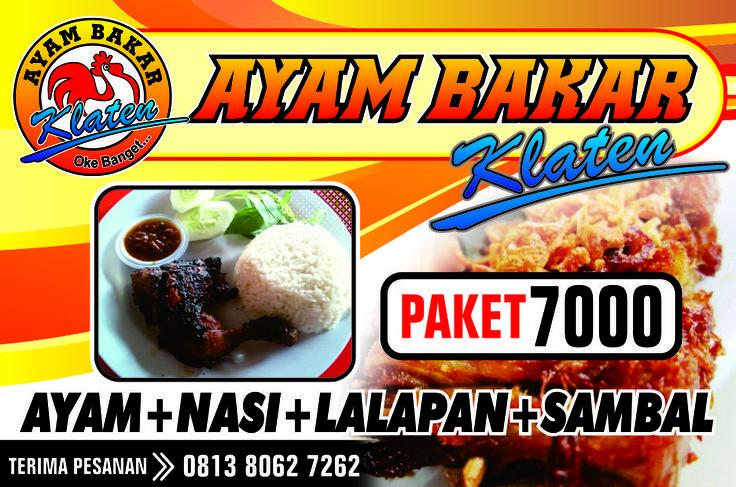 "Design + Cetak ""Ayam Bakar""  Menu Ayam+Nasi+Lalapan +Sambal. Ukuran Spanduk 2 x 1 Meter"