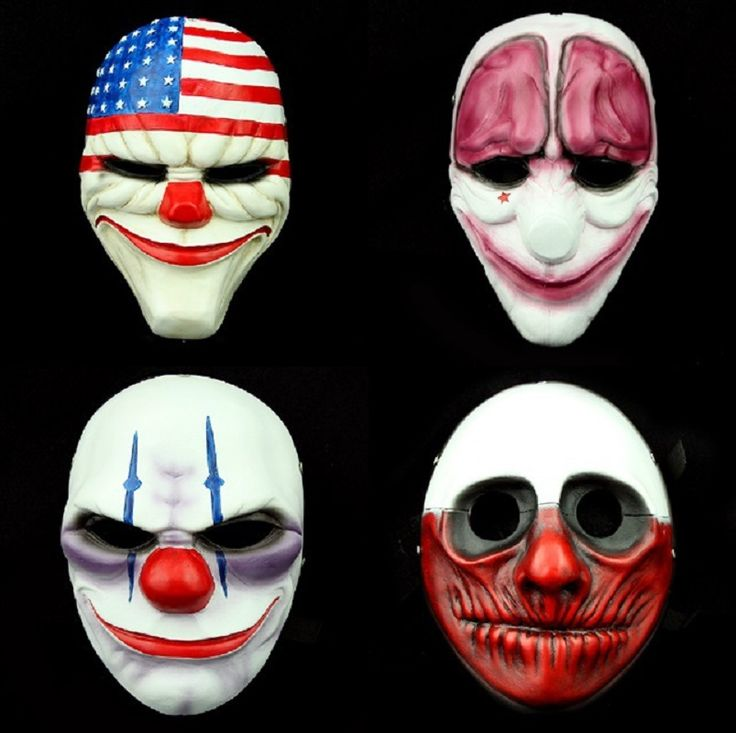Halloween Cosplay Masquerade Prop Full Face Mask Movie Payday2 Joker Dallas Wolf Hoxton Chains Resin Party Masks #Affiliate