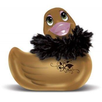 Paperella vibrante Duckie Paris oro by Big Teaze Toys, con un boa di piume rimovibile per giocare in acqua e un cristallo Swarovski sul becco.
