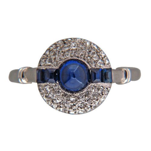 Vintage No Heat Art Deco Gem Blue Sapphire 75ct Platinum Mine Cut Diamond Ring   eBay