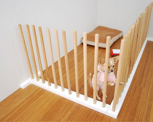 modern, simple dog pen.: Dog Baby Gates, Prettier, Dogs, Pet, Puppy, House, Dog Gates
