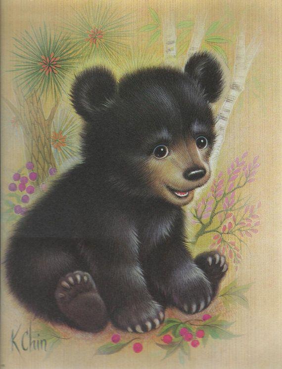 K Chin Print  Bernard Picture Co Inc Black Bear by hellonikita