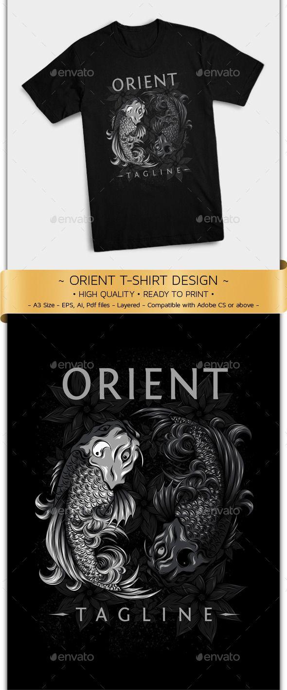 Shirt design template size - Oriental Koi Fish T Shirt Design Template
