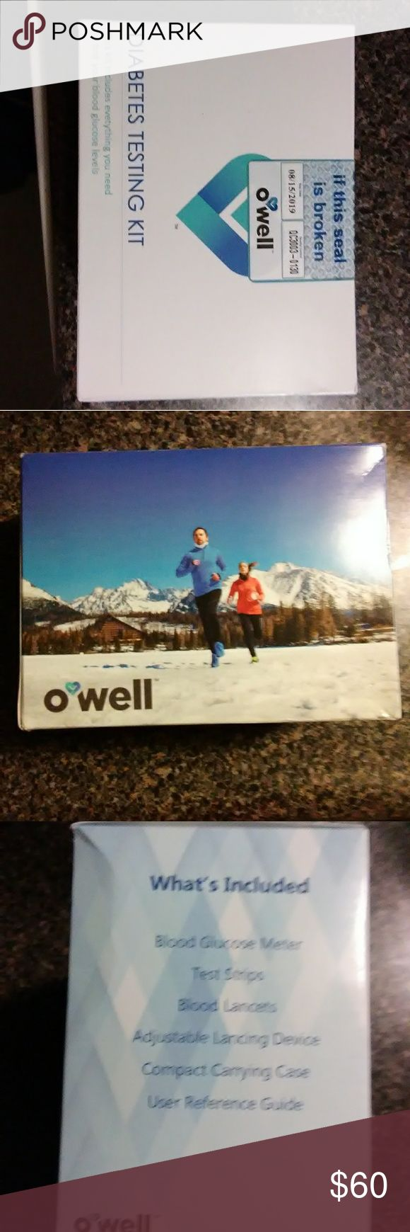 Owell Diabetes Testing Kit Diabetes testing kit never opened.. Includes Blood Glucose Meter,Test Strips, Lancets, Adjustable Lancing Device, Carrying Case and User Guide. Owell Other