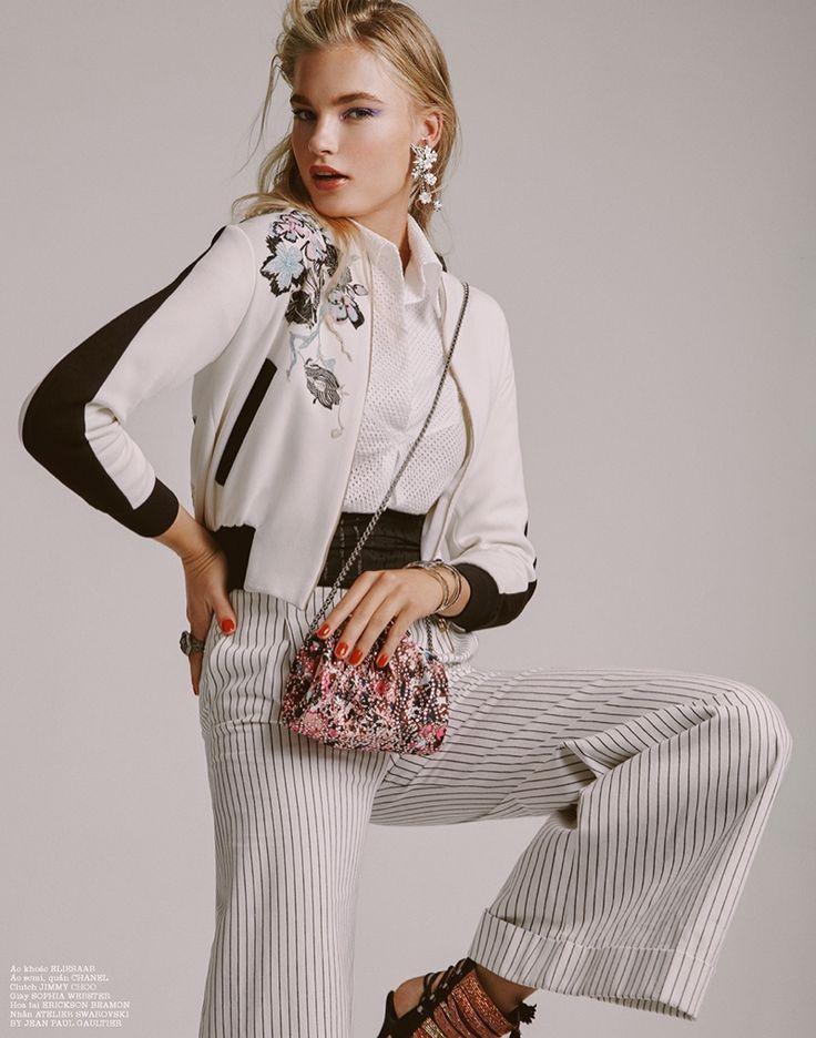 Model Isabel Scholten poses in Elie Saab embroidered bomber jacket for ELLE Magazine Vietnam December 2016 issue