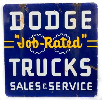 """Dodge """"Job-Rated"""" Trucks Sales Service Porcelain Sign Double Sided porcelain sign for Dodge """"Job Rated"""" Trucks Sales and Service. This is a pretty tough to find Dodge sign and with the popularity of the brand we are expecting to see some heavy action on this sign! It's a great size with the Job-Rated and gears logo with great Dodge Trucks rounded typeface. This sign has a deep blue and yellow color scheme and is marked """"Walker & Co Detroit"""". Sign has chipping at mounting holes on top and…"""