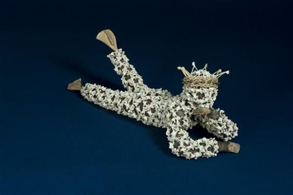 Linde Ivimey's 'Syreni' - steel armature, dyed cotton, chicken & quail bones, black pearls