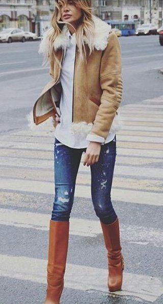 #winter #outfits /  Camel Jaclet // White Blouse // Ripped Skinny Jeans // Camel Leather Boots
