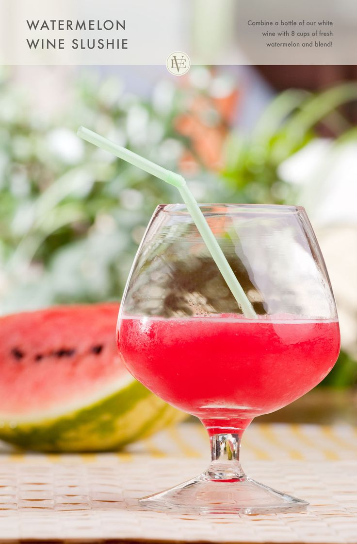 Watermelon just got more exciting! Blend 8 cups of fresh watermelon and a bottle of our new Sauvignon Blanc for a summer slushie that's easy to serve. #EdnaValleyWines #WineCocktail #Summer #Watermelon #SauvignonBlanc