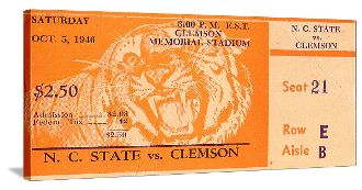 Clemson football gifts! 1946 N.C. State vs. Clemson Football Ticket Art. The best football gifts in the country. #47STRAIGHT