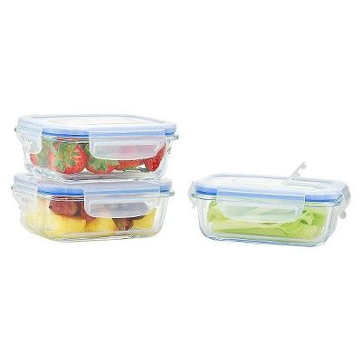 Kinetic GoGreen Glasslock Elements 6-Piece Rectangular Oven Safe Glass Food Storage Set with Vented Lid, 12 oz, Clear