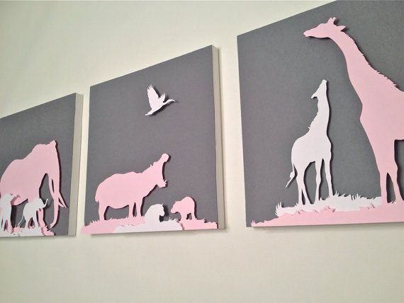 Elephant Giraffe and Hippo with Babies Paper cut Silhouette, Artwork for Children's Room or Nursery, African Animals on Etsy, $75.00