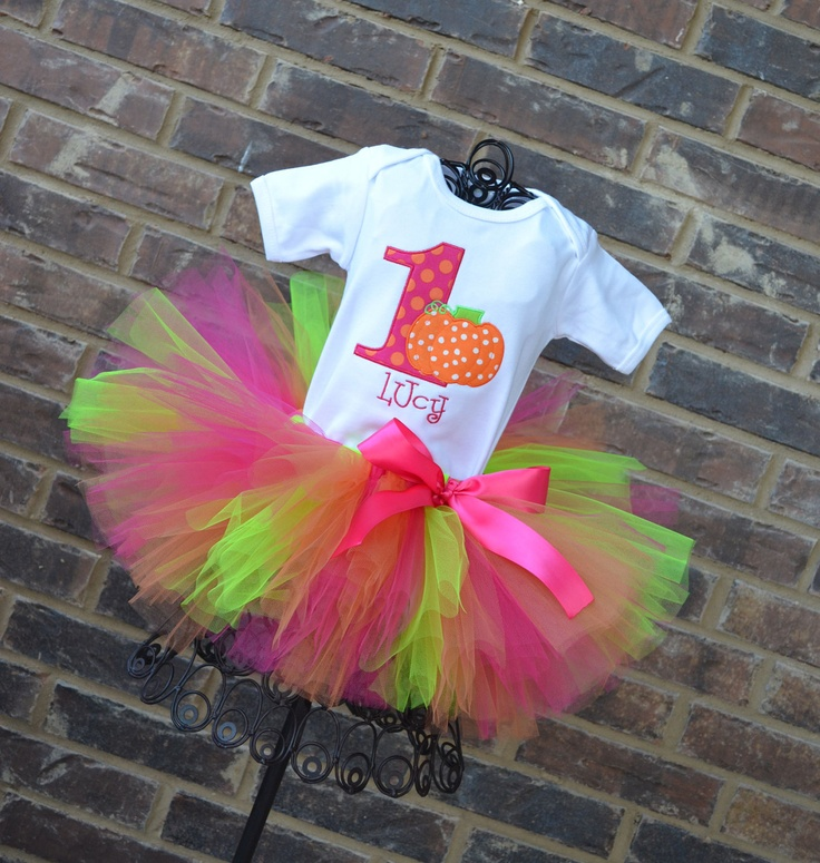 Little Pumpkin Birthday Tutu Outfit Hot Pink Orange Lime Pumpkin Tutu Outfit. $49.95, via Etsy.