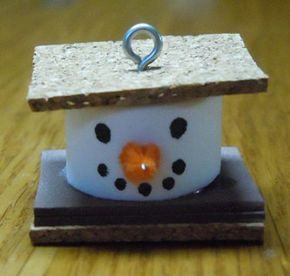 christmas ornaments to make | How to make Christmas ornaments; S'more snowman ornament