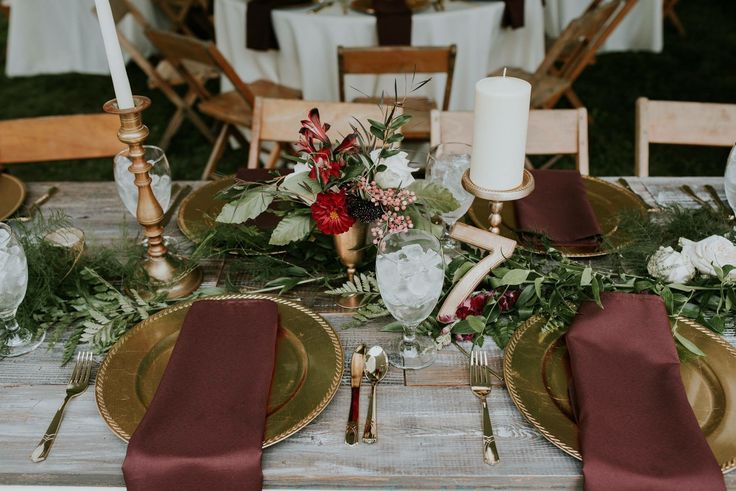 Wedding, Table Setting, Gold, Burgundy, Greenery, wood table pc: Alex Gaiser, Alexandria Hope Photography Millersport, Oh  Florals: Pat Warthen