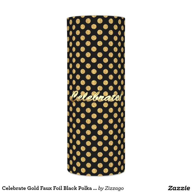 Celebrate Gold Faux Foil Black Polka Dots Flameless Candle