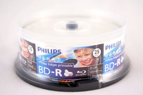 Philips BD-R 6X 25GB White Inkjet Printable 25PK in Spindle by Philips. $22.50. Philips BD-R 25GB 6X Blu-ray recordable disc offers 25 gigabytes of write-once storage capacity. It records and playbacks high-definition video (HD), as well as storing large amounts of data. A single-layer Blu-ray disc can hold 25GB, which can be used to record over 2 hours of HDTV. Blu-ray uses a blue-violet laser to read and write data. The high quality white printable surface offers full-surfac...