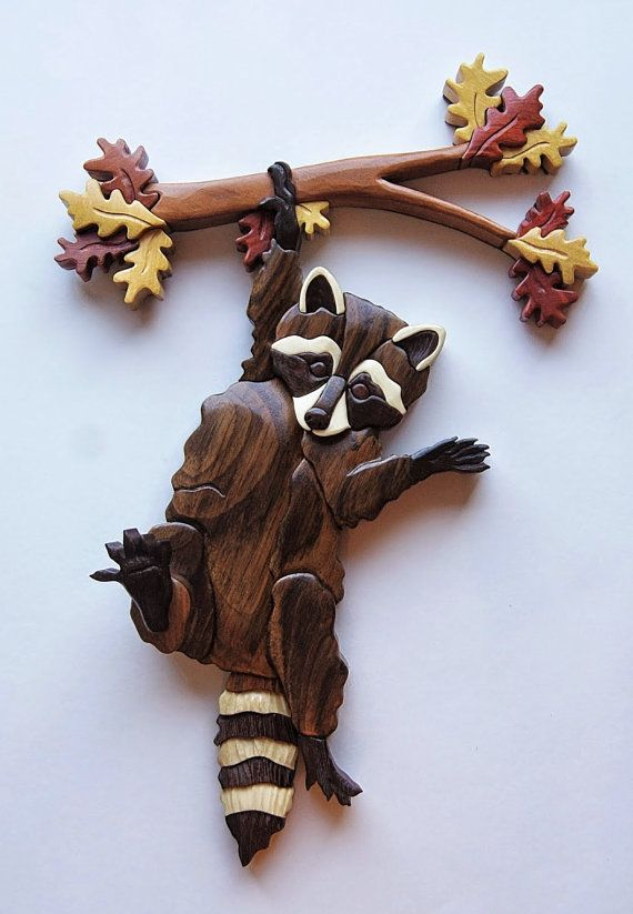 Mapache en rama Intarsia del colgante de pared madera